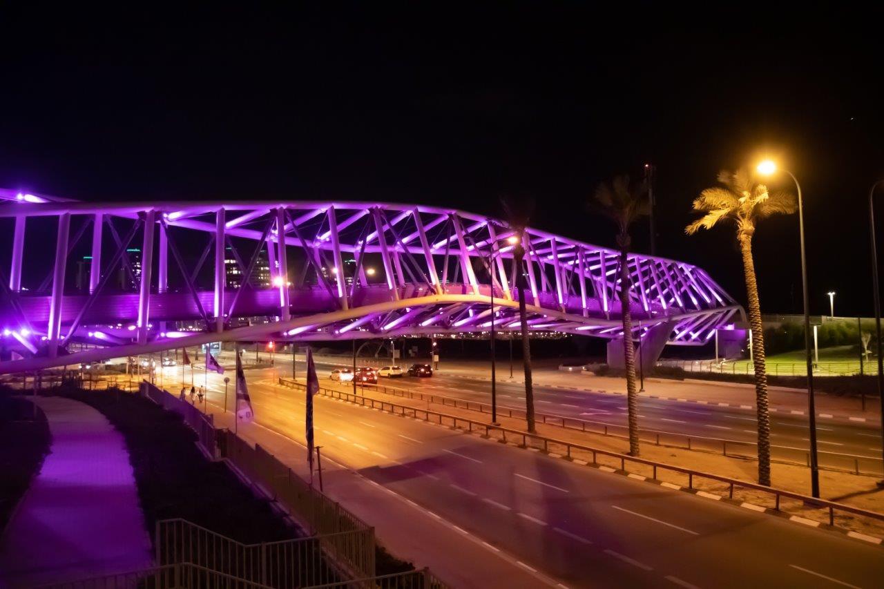 גשר השמורות בנתניה מואר לרגל חודש המודעות צילום: דוברות עיריית נתניה