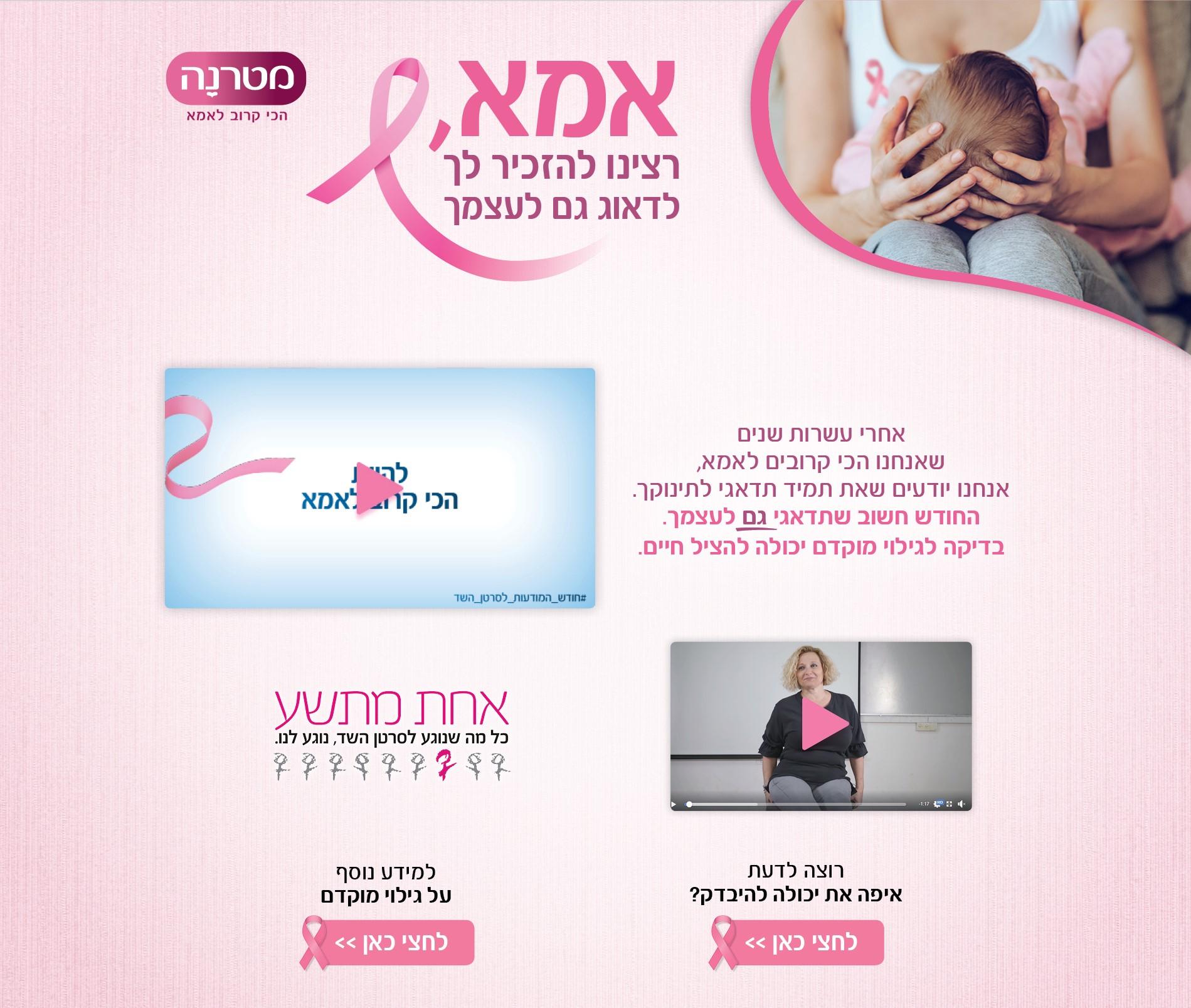 מיני סייט שלמטרנה בנושא סרטן השד - שיתוף פעולה עם עמותת אחת מתשע